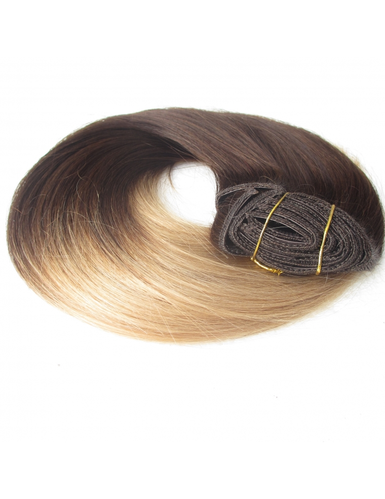 2 18 ombre clip in 50 cm 100 gram remy luksus hair extension. Black Bedroom Furniture Sets. Home Design Ideas