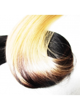 60/1 Lysestblond/Sort Ombre luksus hotfusion, 50 cm langt