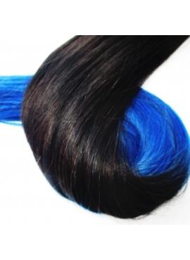 1/Blå Ombre hotfusion, 50 cm langt