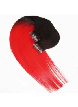 1/Rihanna Red, Ombre Asian, Tape 4 cm, 50 cm langt, luksus remy hair extension