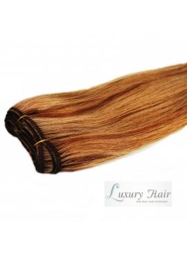 18/8 Karamel med lysebrune striber, Premium Eurostyle trense 50 cm langt hår