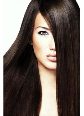 Farve 2 mørke brun, Premium Luxury 100 stk 1 grams totter., 50 cm langt, glat hår med keratin negle