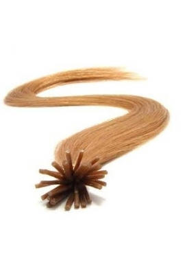 30 RødBrun i-tip 50 cm langt Premium Eurostyle hair extension hotfusion
