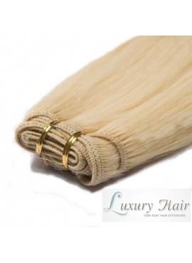 613 Lysblond, Premium Eurostyle 50 cm ægte hår, 100 gram