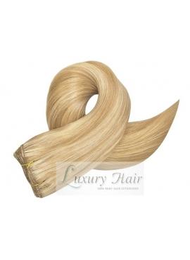 60/18 Lysest blond med karamel mix, Premium Eurostyle hår trense, 100 gram i 50 cm længde