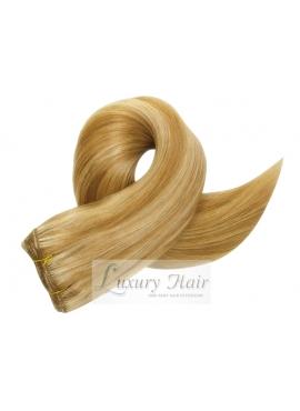 613/18 Lysblond m karamel striber, Premium Asien Trense 50 cm langt hår, 100 gram