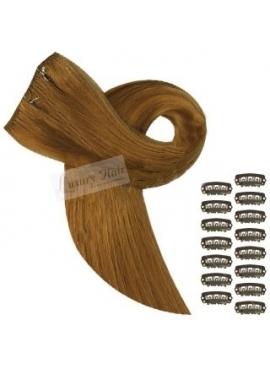 Farve 10 Natur Brun, Luksus Remy Clip on hår, 50 cm langt, glat, 65 gram