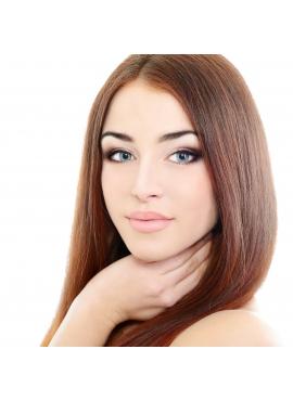 6 Kastanie, Asian tape hår, 4 cm baner i remy kvalitet