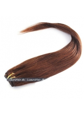 Farve 6 Kastanie Brun, 50 cm langt Premium Eurostyle hår trense, 100 gram ægte glat hår