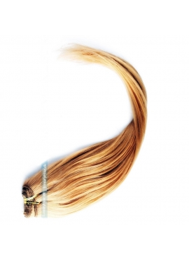 Farve 18 Karamel, Trense i Premium Eurostyle, 50 cm langt, 100 gram ægte hår