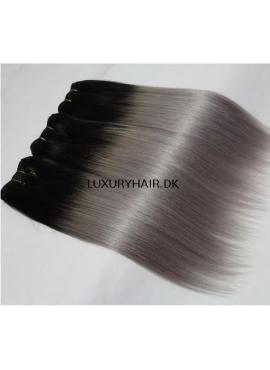 1b/Grey Trense, Premium Eurostyle, 50 cm glat hår i ombre, 100 gram