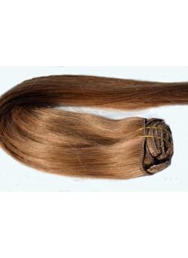 8_12 Lysebrun med rødblond mix, Clip in Remy hår, 100 gram af 8 baner plus clips