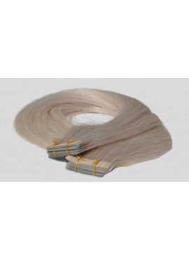 Silver Blond, Premium Eurotyle, remy kvalitet, tape hair extension, dobbelt klæbende, 50 cm langt