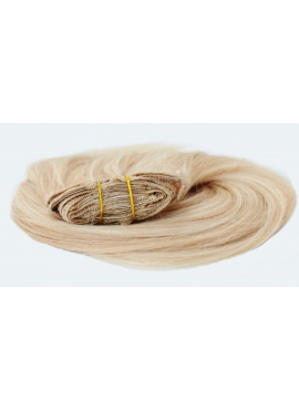 60/18 Lysestblond Karamel mix, Premium Eurostyle Clip in Remy hår, 100 gram af 8 baner plus clips