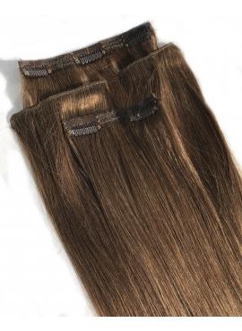 4 lys choko, 4 baner clip in, luksus hår, 50 cm længde