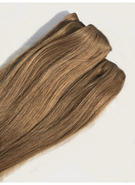 8_12 lys brun med rødblond refleks, 4 baner clip in, luksus hår, 50 cm længde