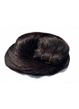 Nr. 1B SortBrun, trense 60 cm langt i luksus remy hår