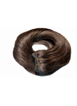 Nr. 4 Chokolade Brun, trense 60 cm langt i luksus remy hår