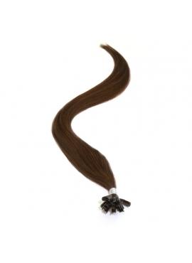 Farve 02 mørkebrun glat, 100 totter luksus hotfusion 1 grams totter, 60 cm glat