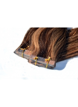 2/8 mørkbrun mix med lysbrun Asien Tape hair extension, 50 cm langt