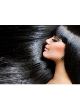 Nr. 1 sort, trense 60 cm langt i luksus remy hår