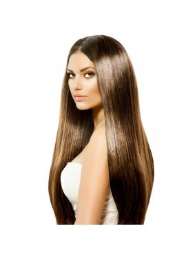 2/8 Mørkebrun mix med lysebrun, Unique luxury, 50 cm langt hår trense, 100 gram