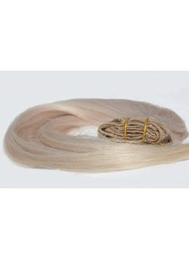 Silver, kvalitets Clip in hair extension, 50 cm langt, 100 gram, 8 baner