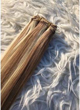 60/10 Lys Blond mix Lys brun Håndsyet trense i unique top kvalitet 50 cm længde