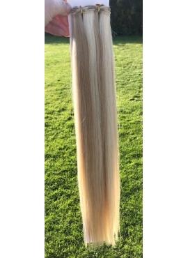 60/20 lys blond mix mørk blond Håndsyet trense i 60 cm længde i unique kvalitet