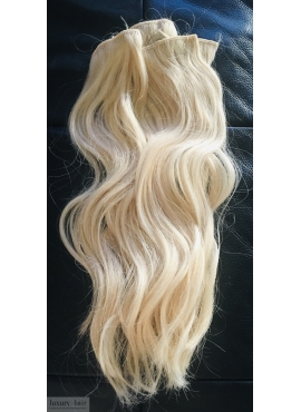 60 lysest blond, clip in hår, 39-45 cm længder - 5 baner med clips 73 gram