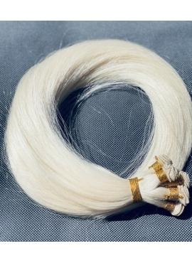 Ice blond håndsyet trense, Unique luxury, 50 cm langt, 100 gram hår