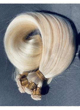 Ice blond håndsyet trense, Premium luxury, 60 cm langt, 100 gram hår