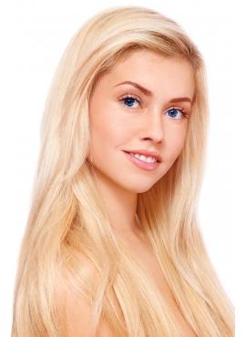 60 Lysest Blond, Virgin Hair Trense 50 cm langt, 100 gram eksklusivt luksus hår