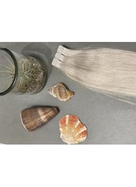 60S Silver Blond, Tape Hair Extensions, 60 cm langt, luksus hår til påsætning