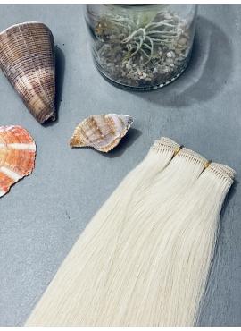 1001 Platin Blond, Håndsyet trense, Unique Luxury, 60 cm længde