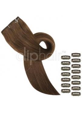 Farve 8 mellembrun clip on luksus remy hår extensions, glat 50 cm langt, 100 gram af 3 baner