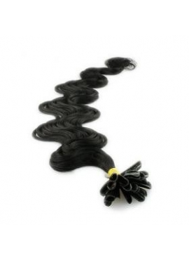 1 sort bodywave, 100 totter 1 grams 55 cm langt, luksus remy nail hair extension