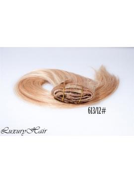 613_12 Lysblond med rødblond mix, Luksus Clip in Remy hår, 100 gram af 8 baner plus clips