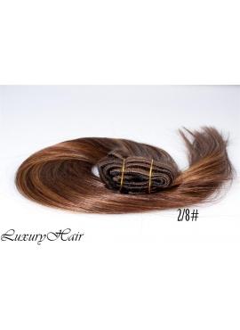 2_8 Mørkbrun lysbrun mix, Luksus Clip in Remy hår, 100 gram af 8 baner plus clips