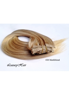 20 Mørk Blond,luksus remy clip in hårextension, 8 baner 100 gram