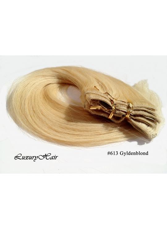 Farve 613 lys blond, clip on remy hair extension , 100 gram af 8 baner plus clips