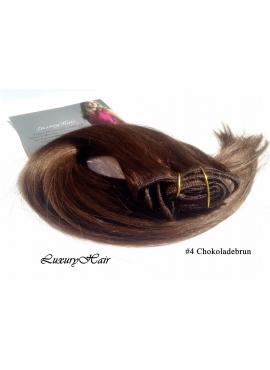 4 chokoladebrun ,Luksus clip in hår extension, 50 cm langt, 100 gram med clips