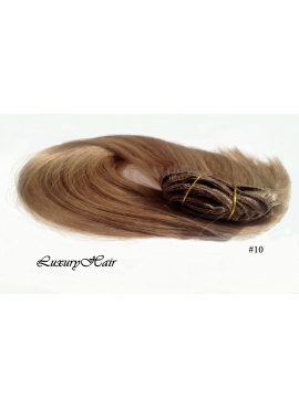 10 Mellembrun, luksus remy clip in hårextension, 8 baner 100 gram