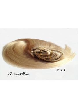 613_18 Lysblond med karamel mix, Luksus Clip in Remy hår, 100 gram af 8 baner plus clips