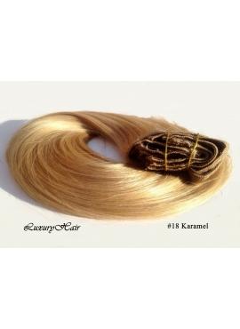 18 Karamel, luksus clip in hår extension, 50 cm langt, 8 baner 100 gram + clips