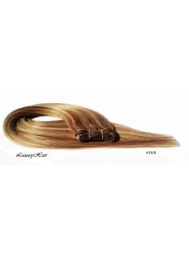 Nr. 18/8 Karamel med lysebrune striber, trense 60 cm langt i luksus remy hår