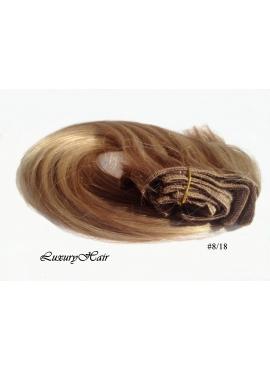 18_8 Karamel med Lysebrunt mix, Luksus Clip in Remy hår, 100 gram af 8 baner plus clips