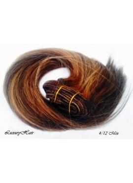 4_12 Chokoladebrun med rødblond mix, Luksus Clip in Remy hår, 100 gram af 8 baner plus clips