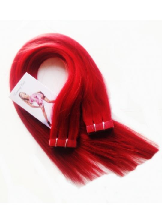 Rihanna Rød, Knald rødt luksus remy, tape hår 4 cm brede luksus remy baner - klar til brug - 50 cm langt