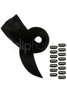 Farve 1B sort/brun, luksus remy clip in hår, 90 gram glat hår i 3 baner